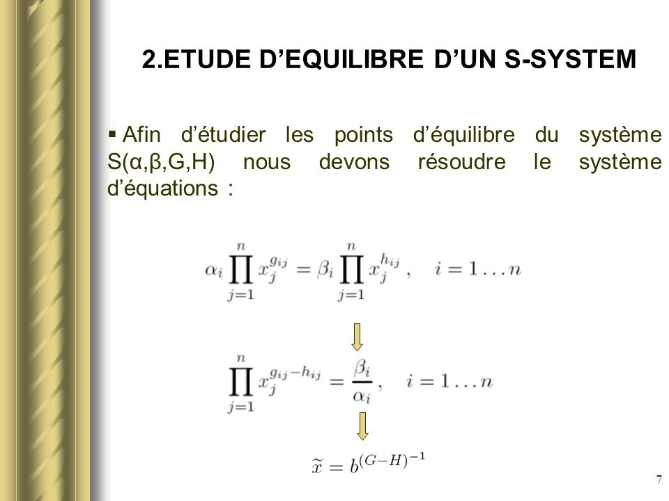 8 2.ETUDE DEQUILIBRE DUN S-SYSTEM Exemple: Solution: X