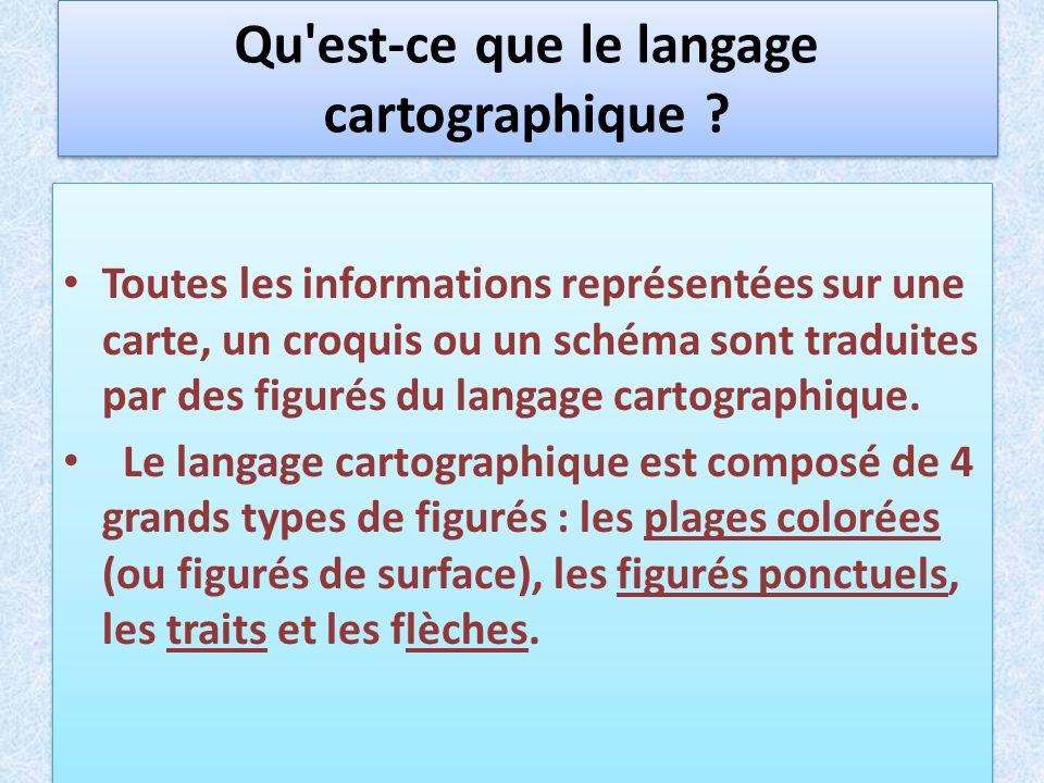 Qu'est-ce que le langage cartographique ? Toutes les informations représentées sur une carte, un croquis ou un schéma sont traduites par des figurés d