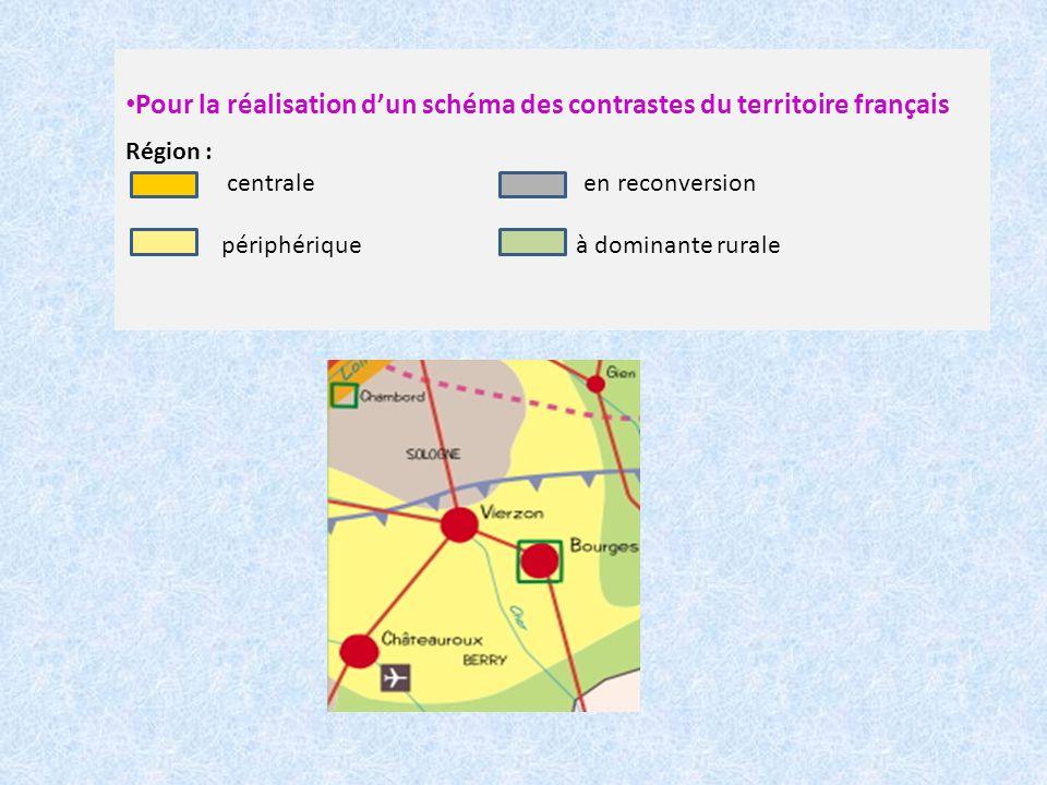 Pour la réalisation dun schéma des contrastes du territoire français Région : centrale en reconversion périphérique à dominante rurale