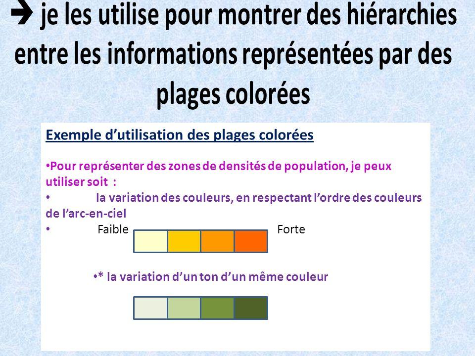 Exemple dutilisation des plages colorées Pour représenter des zones de densités de population, je peux utiliser soit : la variation des couleurs, en r