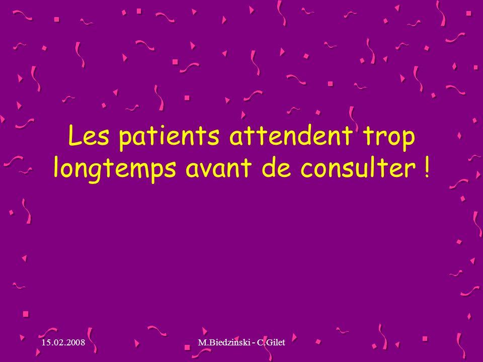15.02.2008M.Biedzinski - C.Gilet Les patients attendent trop longtemps avant de consulter !