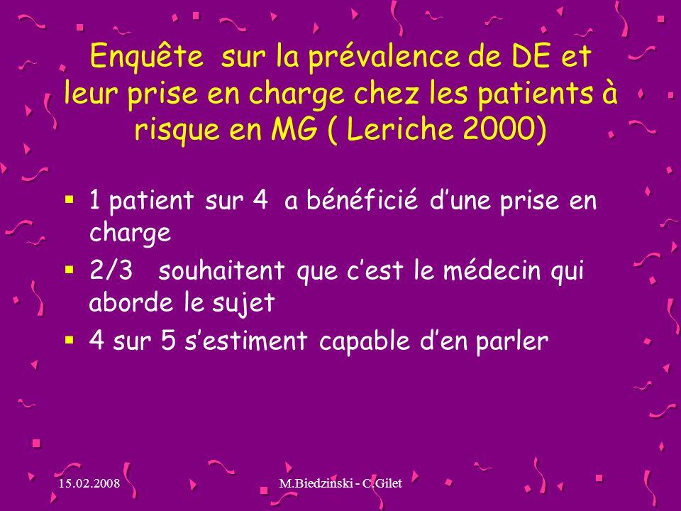 15.02.2008M.Biedzinski - C.Gilet Enquête sur la prévalence de DE et leur prise en charge chez les patients à risque en MG ( Leriche 2000) 1 patient su