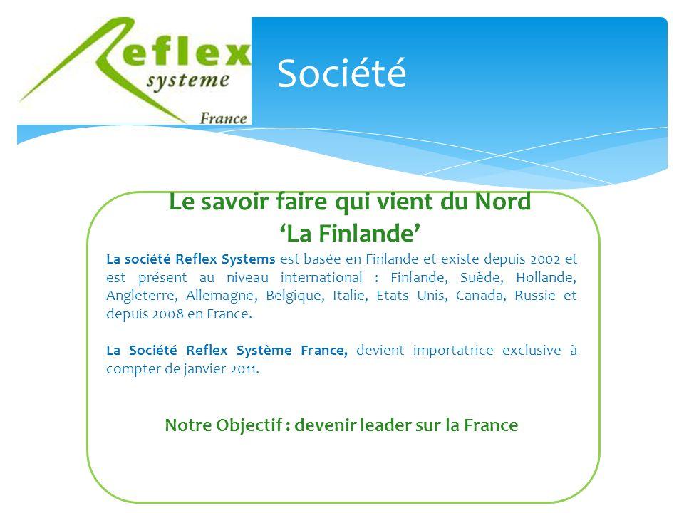 Société Le savoir faire qui vient du Nord La Finlande La société Reflex Systems est basée en Finlande et existe depuis 2002 et est présent au niveau international : Finlande, Suède, Hollande, Angleterre, Allemagne, Belgique, Italie, Etats Unis, Canada, Russie et depuis 2008 en France.