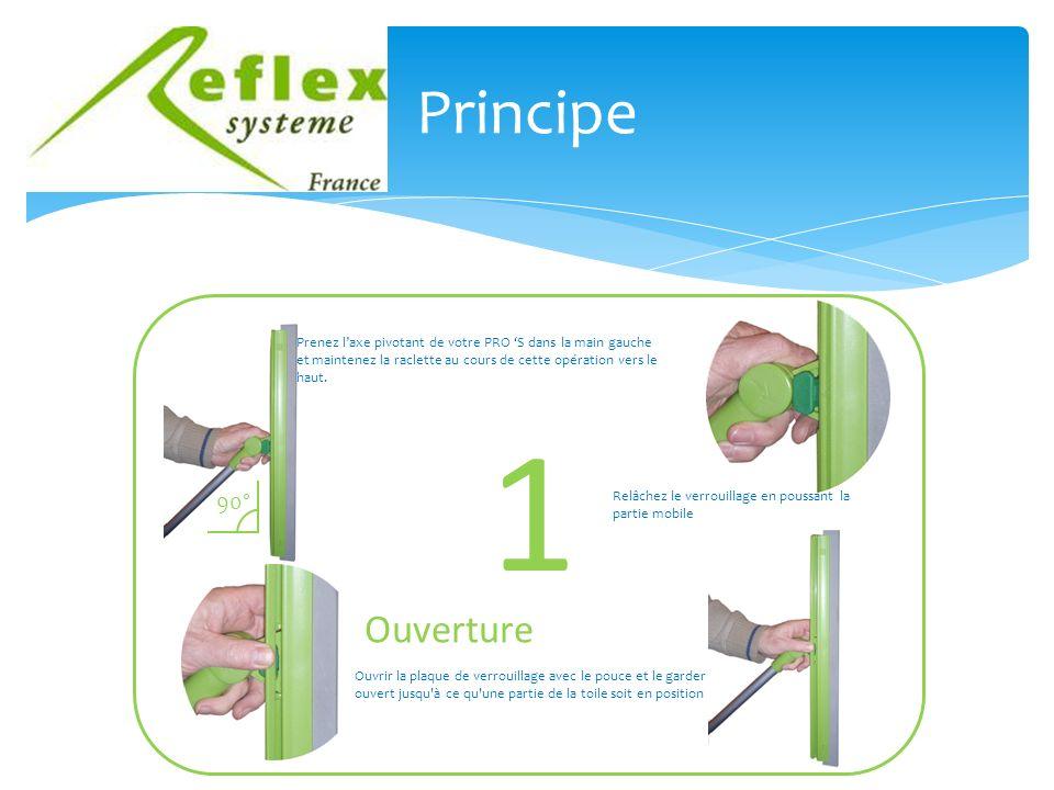 Principe 1 90° Prenez laxe pivotant de votre PRO S dans la main gauche et maintenez la raclette au cours de cette opération vers le haut.