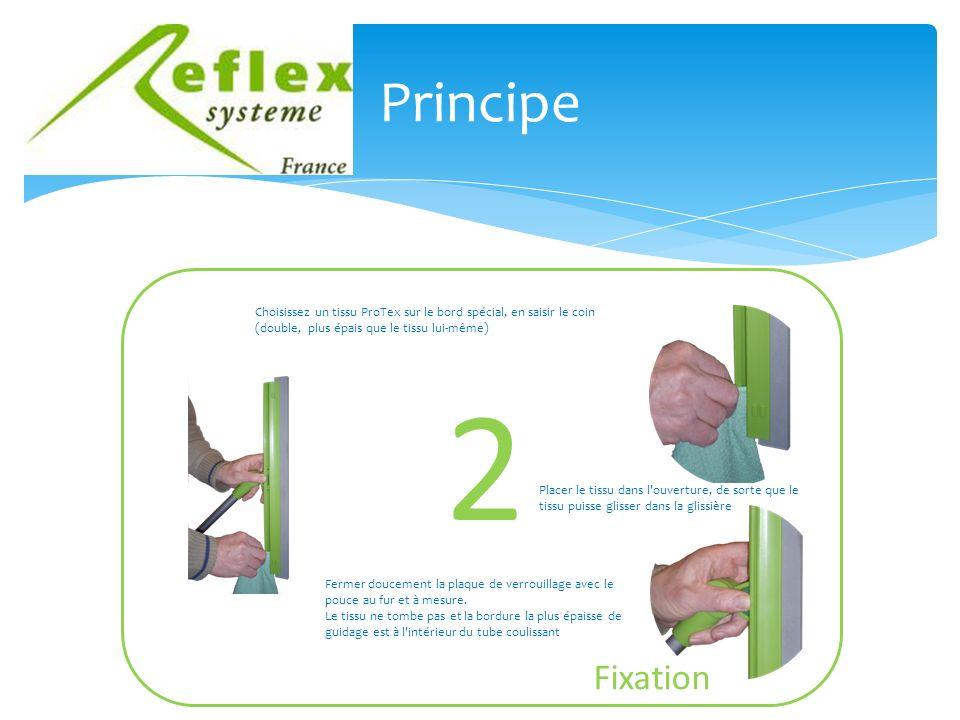 Principe Choisissez un tissu ProTex sur le bord spécial, en saisir le coin (double, plus épais que le tissu lui-même) Fermer doucement la plaque de verrouillage avec le pouce au fur et à mesure.