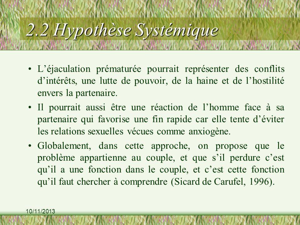 10/11/2013 2.2 Hypothèse Systémique Léjaculation prématurée pourrait représenter des conflits dintérêts, une lutte de pouvoir, de la haine et de lhost