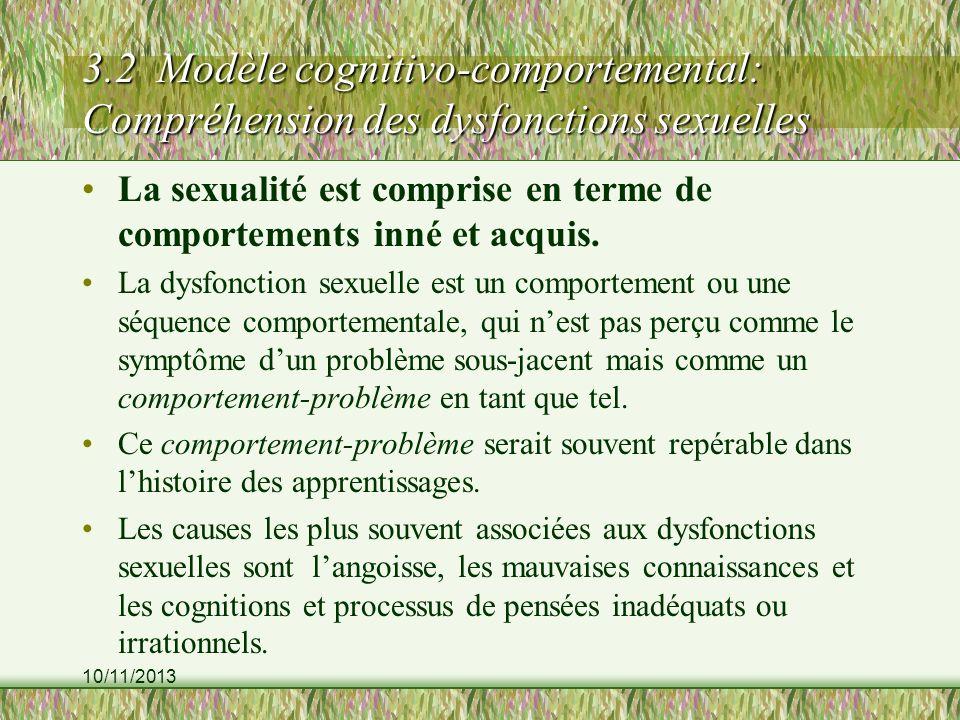 10/11/2013 3.2 Modèle cognitivo-comportemental: Compréhension des dysfonctions sexuelles La sexualité est comprise en terme de comportements inné et acquis.