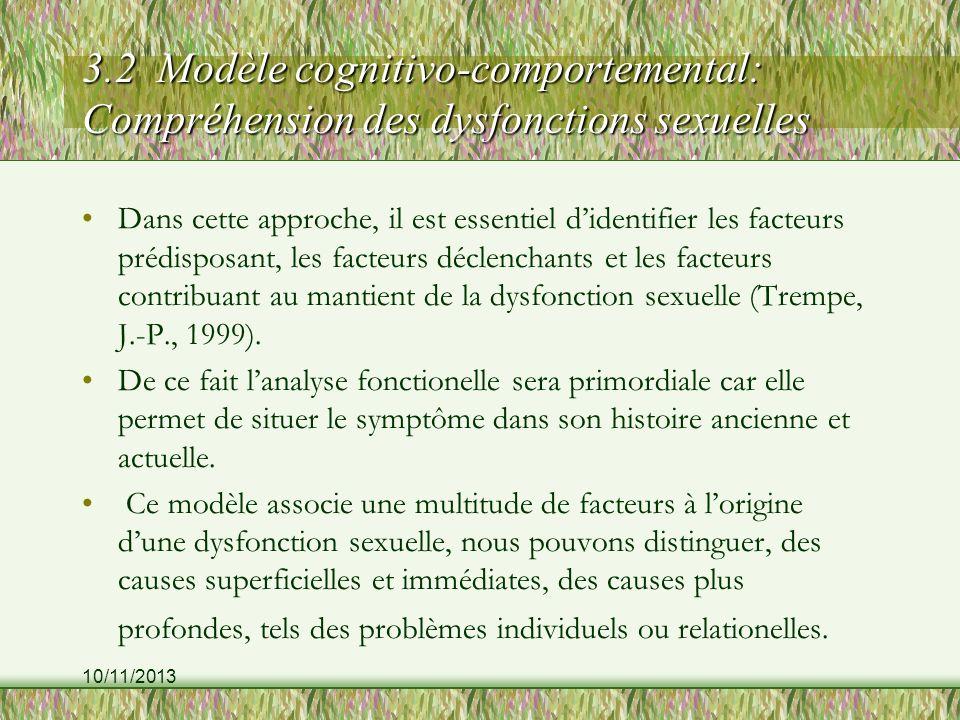 10/11/2013 3.2 Modèle cognitivo-comportemental: Compréhension des dysfonctions sexuelles Dans cette approche, il est essentiel didentifier les facteurs prédisposant, les facteurs déclenchants et les facteurs contribuant au mantient de la dysfonction sexuelle (Trempe, J.-P., 1999).