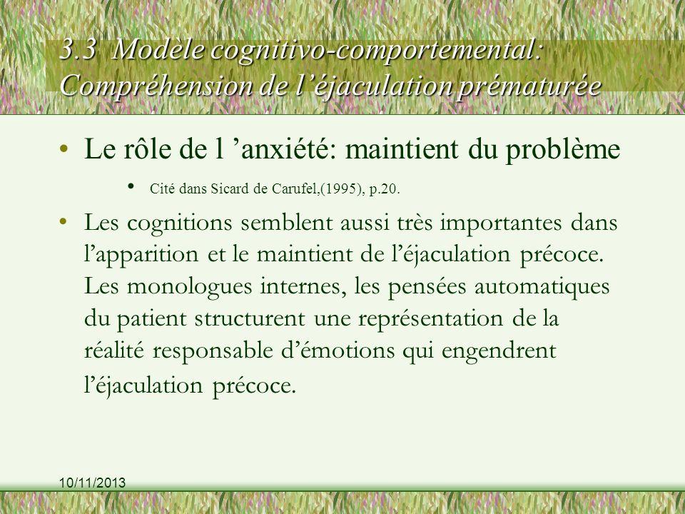 10/11/2013 3.3 Modèle cognitivo-comportemental: Compréhension de léjaculation prématurée Le rôle de l anxiété: maintient du problème Cité dans Sicard de Carufel,(1995), p.20.