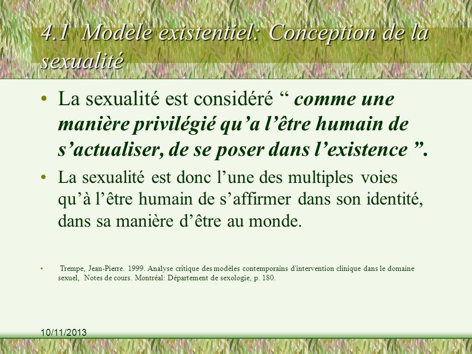 10/11/2013 4.1 Modèle existentiel: Conception de la sexualité La sexualité est considéré comme une manière privilégié qua lêtre humain de sactualiser, de se poser dans lexistence.