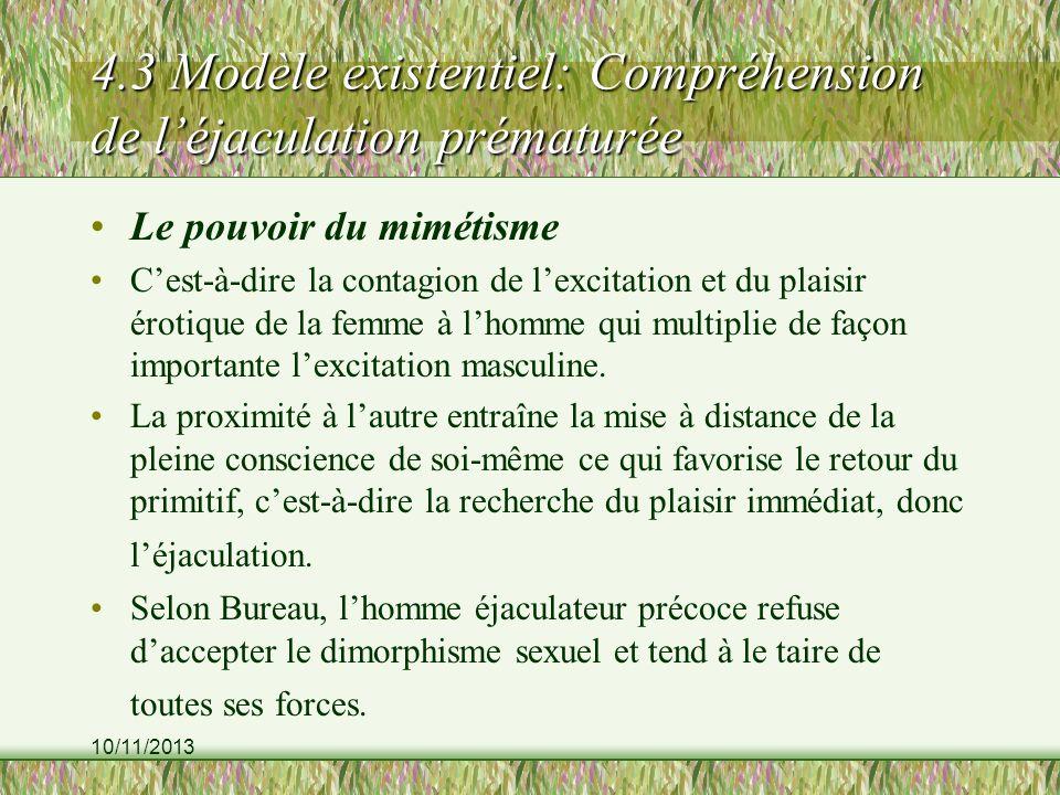 10/11/2013 4.3 Modèle existentiel: Compréhension de léjaculation prématurée Le pouvoir du mimétisme Cest-à-dire la contagion de lexcitation et du plai