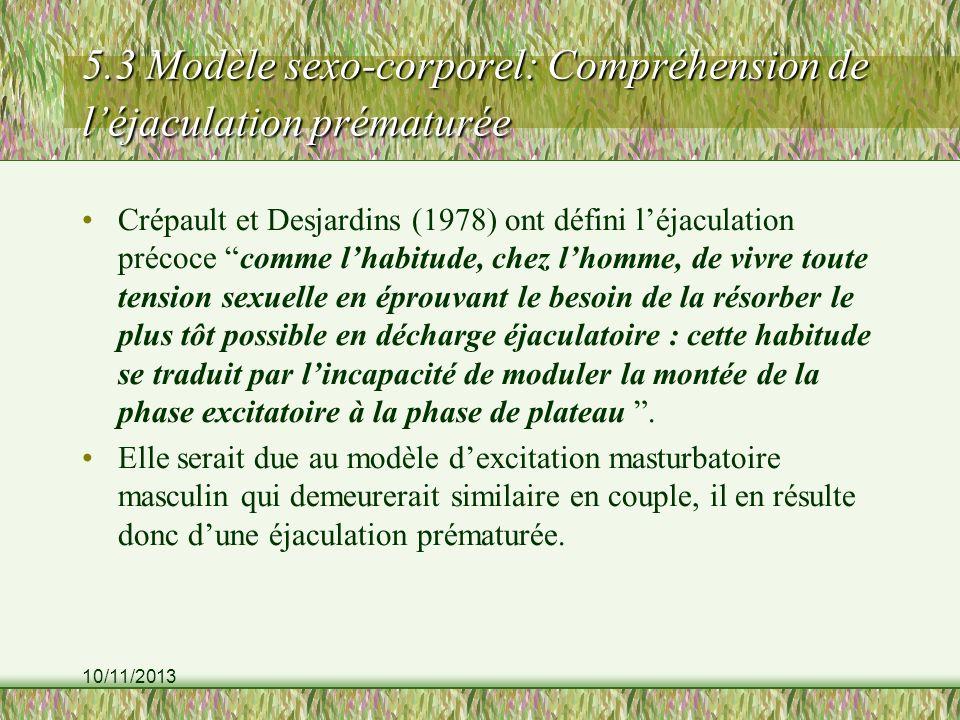 10/11/2013 5.3 Modèle sexo-corporel: Compréhension de léjaculation prématurée Crépault et Desjardins (1978) ont défini léjaculation précoce comme lhab