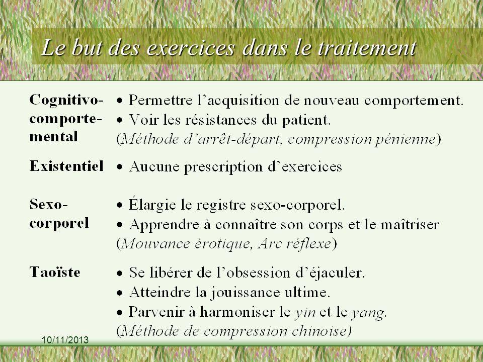 10/11/2013 Le but des exercices dans le traitement