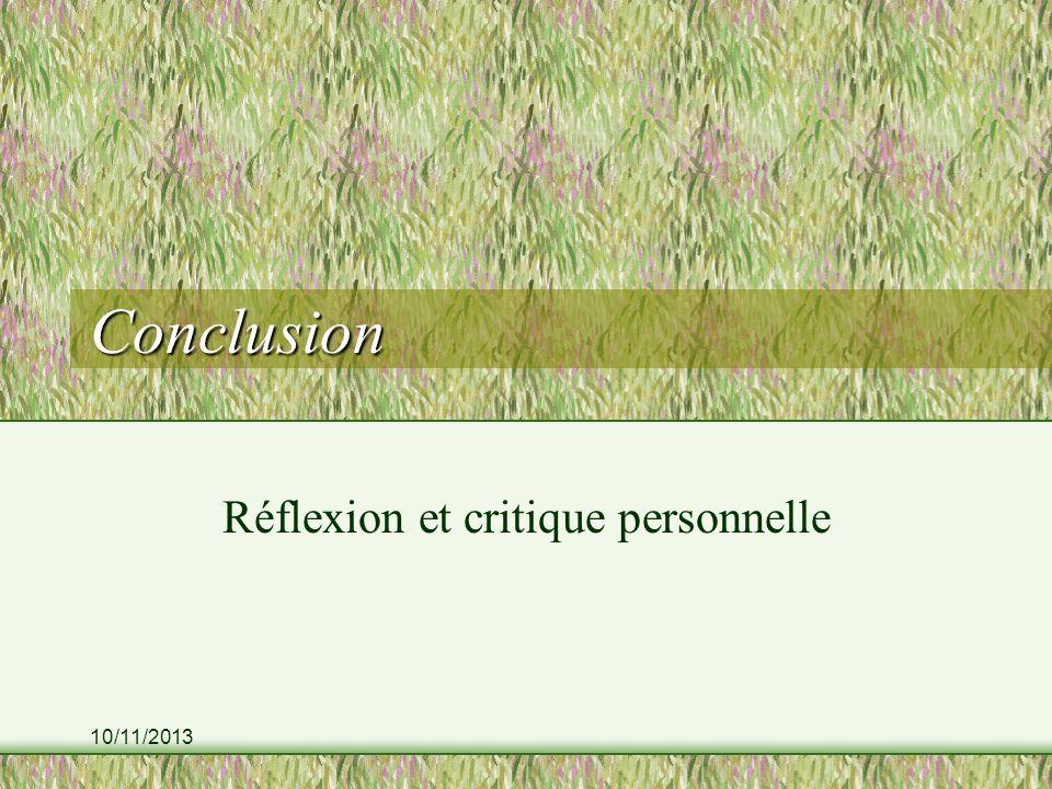10/11/2013 Conclusion Réflexion et critique personnelle