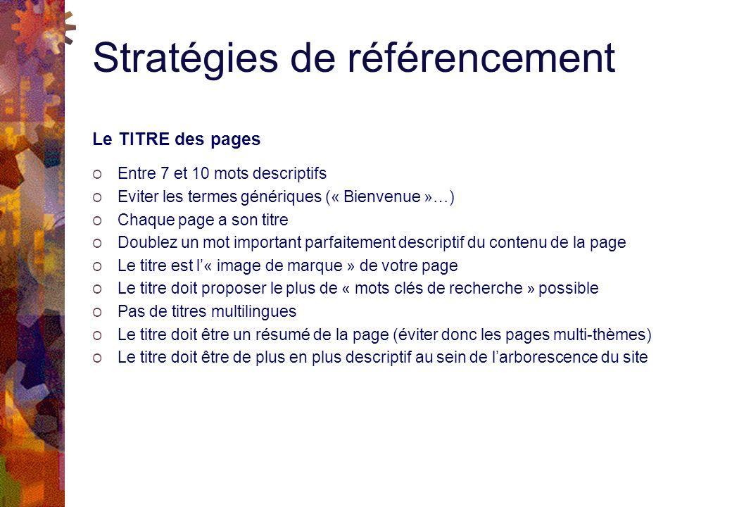 Stratégies de référencement Le TITRE des pages O Entre 7 et 10 mots descriptifs O Eviter les termes génériques (« Bienvenue »…) O Chaque page a son titre O Doublez un mot important parfaitement descriptif du contenu de la page O Le titre est l« image de marque » de votre page O Le titre doit proposer le plus de « mots clés de recherche » possible O Pas de titres multilingues O Le titre doit être un résumé de la page (éviter donc les pages multi-thèmes) O Le titre doit être de plus en plus descriptif au sein de larborescence du site