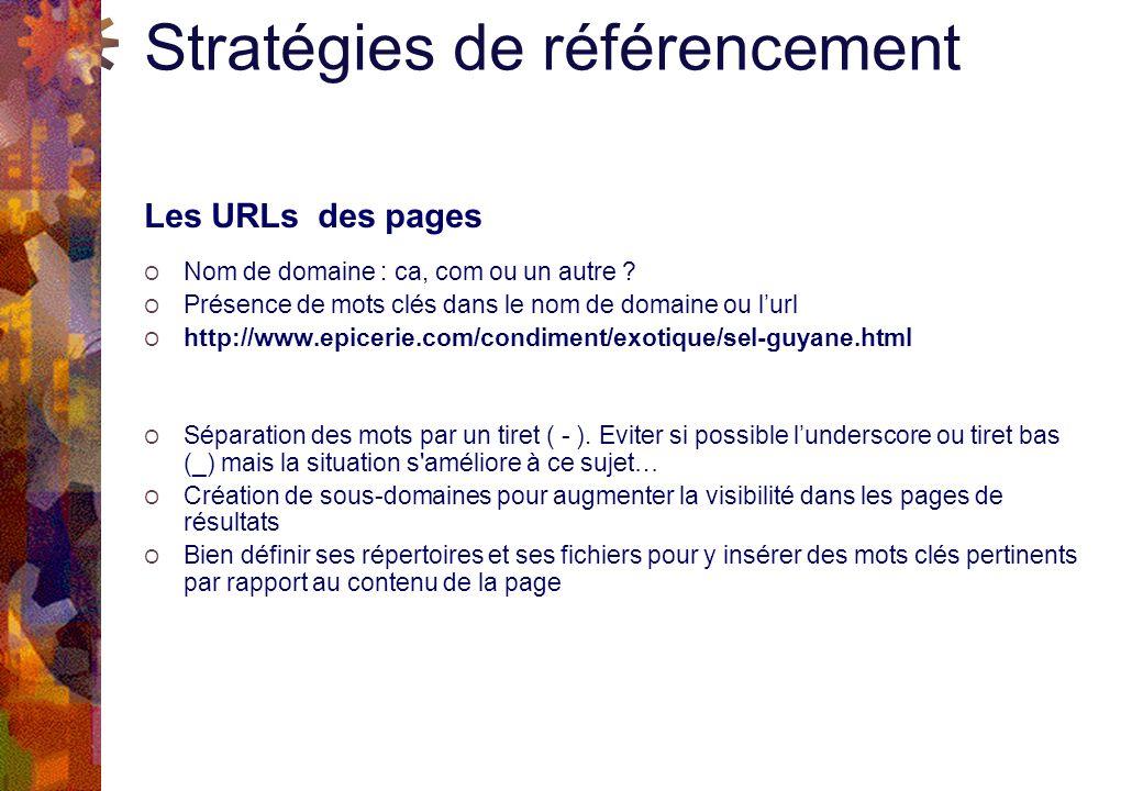 Stratégies de référencement Les URLs des pages O Nom de domaine : ca, com ou un autre .