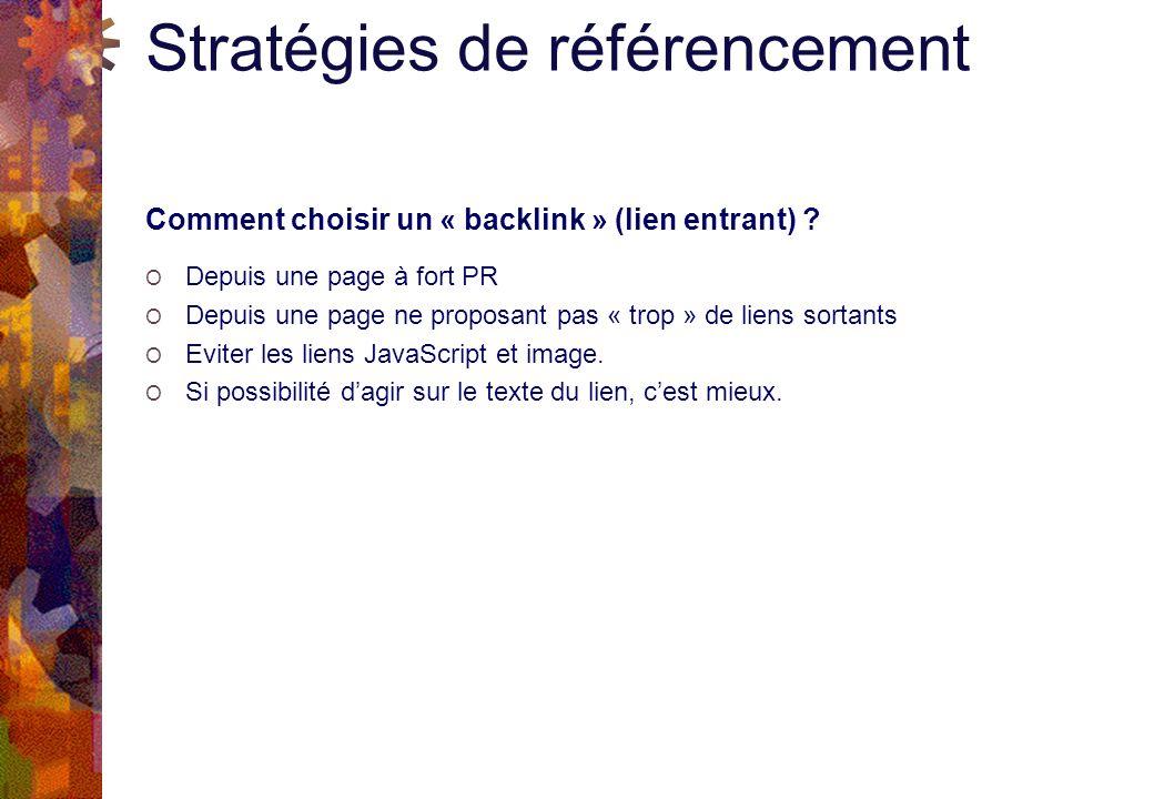 Stratégies de référencement Comment choisir un « backlink » (lien entrant) .