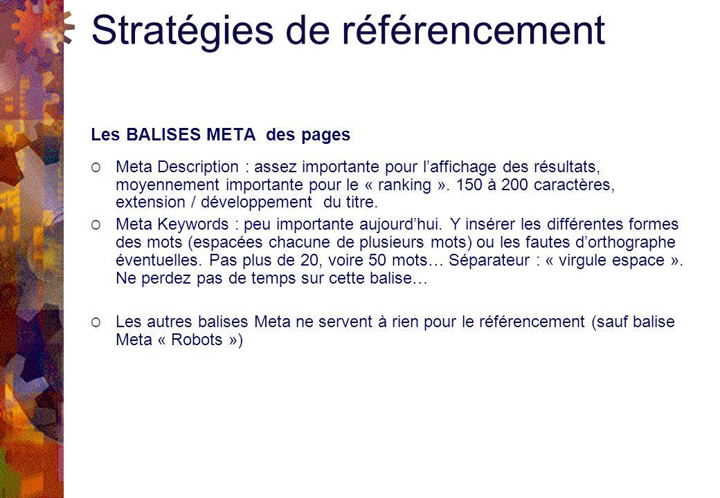 Stratégies de référencement Les BALISES META des pages O Meta Description : assez importante pour laffichage des résultats, moyennement importante pour le « ranking ».