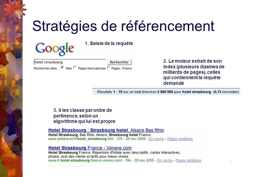 Stratégies de référencement Critères de pertinence des moteurs de recherche : Critères « in the page » : Balises TITLE, Texte visible, balises META Description et Keywords, options ALT.