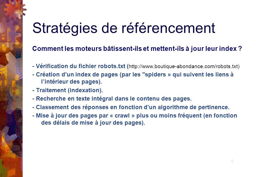 Stratégies de référencement Comment les moteurs bâtissent-ils et mettent-ils à jour leur index .