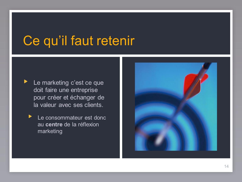 14 Ce quil faut retenir 14 Le marketing cest ce que doit faire une entreprise pour créer et échanger de la valeur avec ses clients. Le consommateur es