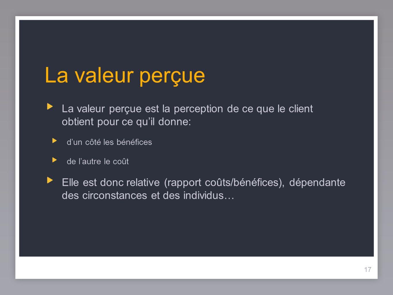 17 La valeur perçue La valeur perçue est la perception de ce que le client obtient pour ce quil donne: dun côté les bénéfices de lautre le coût Elle e