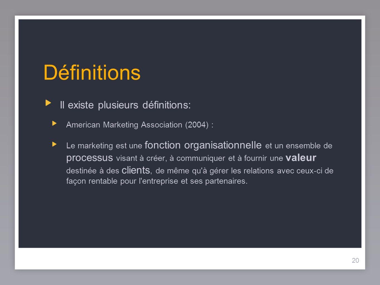 20 Définitions Il existe plusieurs définitions: American Marketing Association (2004) : Le marketing est une fonction organisationnelle et un ensemble