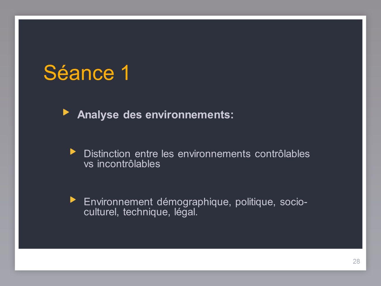 28 Séance 1 Analyse des environnements: Distinction entre les environnements contrôlables vs incontrôlables Environnement démographique, politique, so