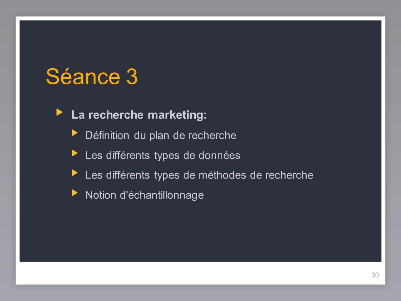 30 Séance 3 La recherche marketing: Définition du plan de recherche Les différents types de données Les différents types de méthodes de recherche Noti