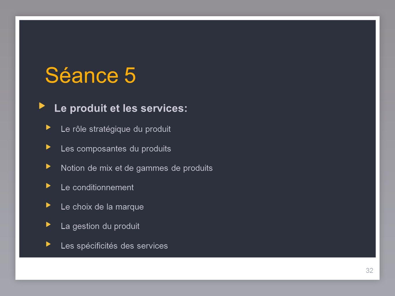 32 Séance 5 Le produit et les services: Le rôle stratégique du produit Les composantes du produits Notion de mix et de gammes de produits Le condition
