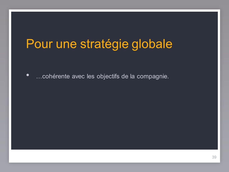 39 Pour une stratégie globale …cohérente avec les objectifs de la compagnie.