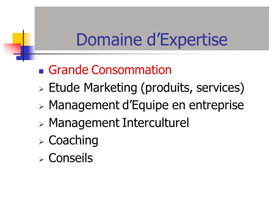 Domaine dExpertise Grande Consommation Etude Marketing (produits, services) Management dEquipe en entreprise Management Interculturel Coaching Conseil