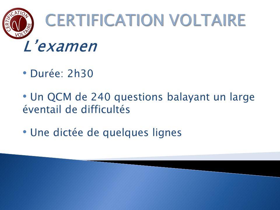 Lexamen Durée: 2h30 Un QCM de 240 questions balayant un large éventail de difficultés Une dictée de quelques lignes