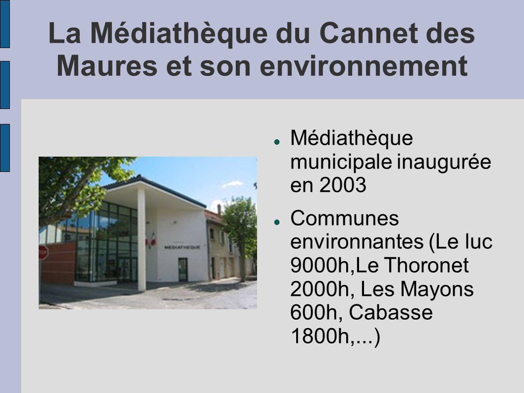 La Médiathèque du Cannet des Maures et son environnement Médiathèque municipale inaugurée en 2003 Communes environnantes (Le luc 9000h,Le Thoronet 200