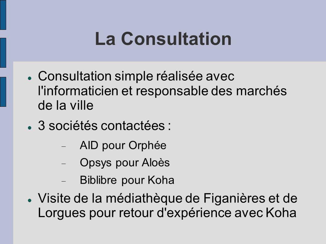 La Consultation Consultation simple réalisée avec l'informaticien et responsable des marchés de la ville 3 sociétés contactées : AID pour Orphée Opsys