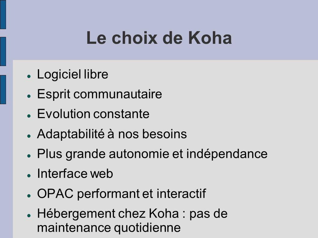 Le choix de Koha Logiciel libre Esprit communautaire Evolution constante Adaptabilité à nos besoins Plus grande autonomie et indépendance Interface we