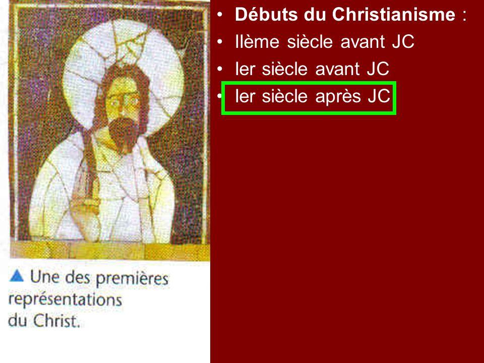 Débuts du Christianisme : IIème siècle avant JC Ier siècle avant JC Ier siècle après JC