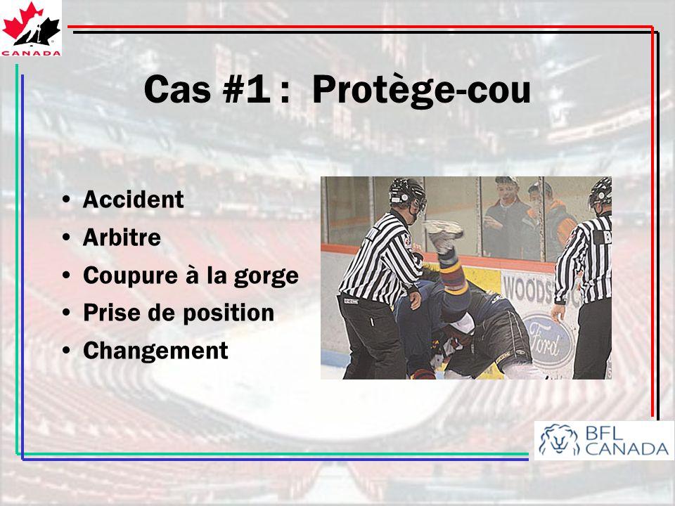 Cas #1 : Protège-cou Accident Arbitre Coupure à la gorge Prise de position Changement