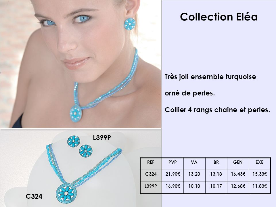 Collection Eléa C324 L399P Très joli ensemble turquoise orné de perles.