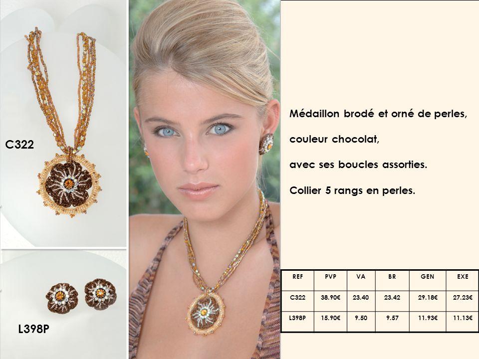 C322 L398P Médaillon brodé et orné de perles, couleur chocolat, avec ses boucles assorties.