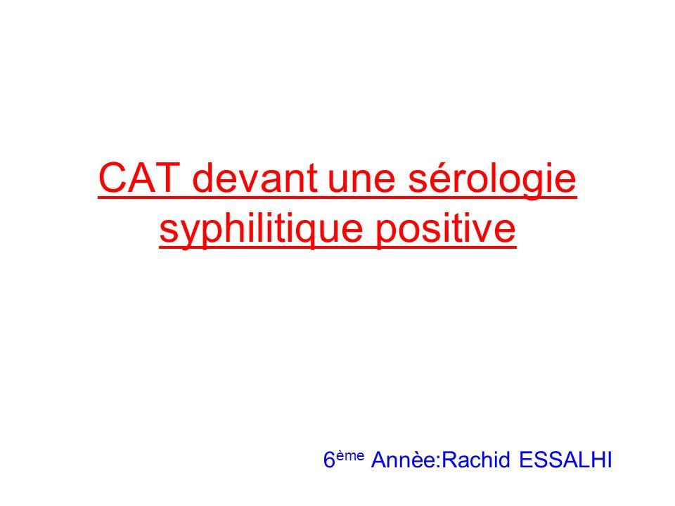 CAT devant une sérologie syphilitique positive 6 ème Annèe:Rachid ESSALHI
