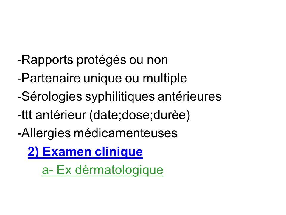 -Rapports protégés ou non -Partenaire unique ou multiple -Sérologies syphilitiques antérieures -ttt antérieur (date;dose;durèe) -Allergies médicamente