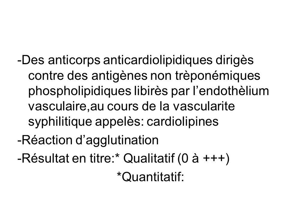 -Des anticorps anticardiolipidiques dirigès contre des antigènes non trèponémiques phospholipidiques libirès par lendothèlium vasculaire,au cours de l