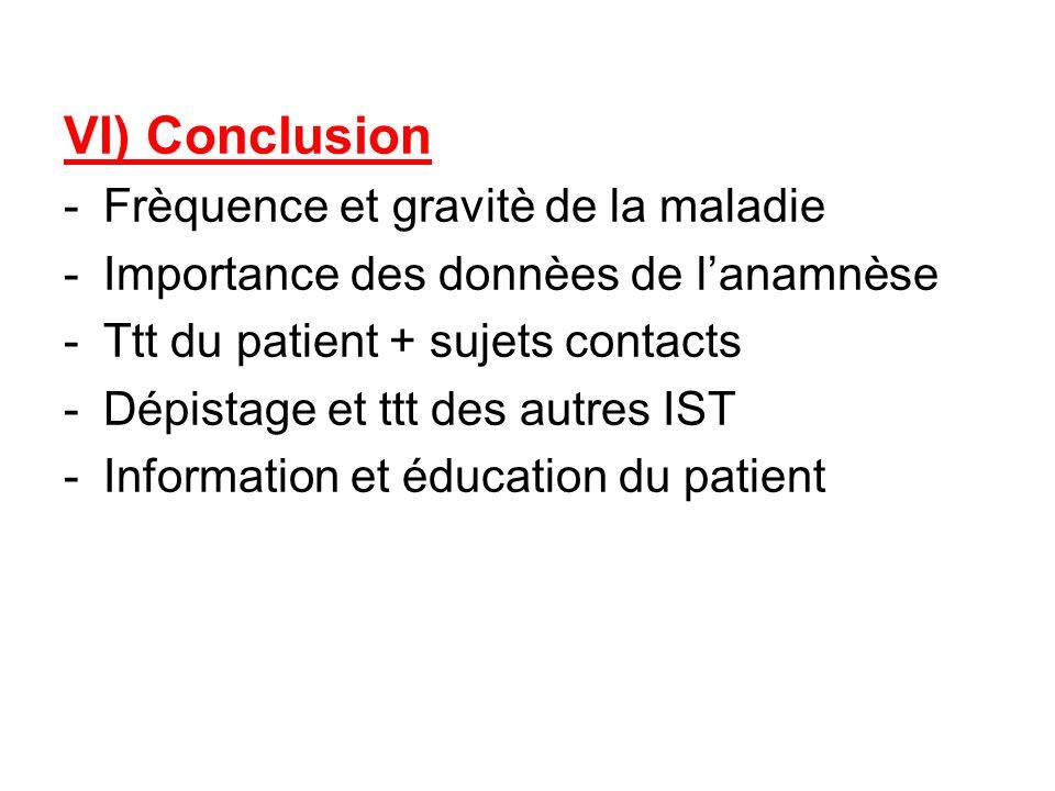 VI) Conclusion -Frèquence et gravitè de la maladie -Importance des donnèes de lanamnèse -Ttt du patient + sujets contacts -Dépistage et ttt des autres