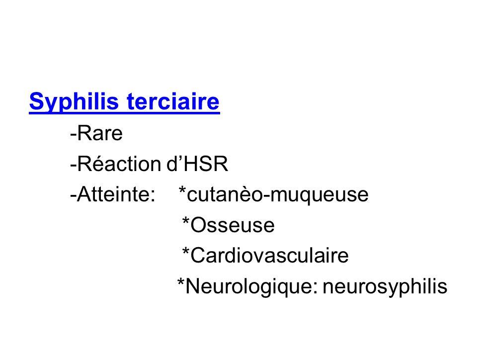 Syphilis terciaire -Rare -Réaction dHSR -Atteinte: *cutanèo-muqueuse *Osseuse *Cardiovasculaire *Neurologique: neurosyphilis