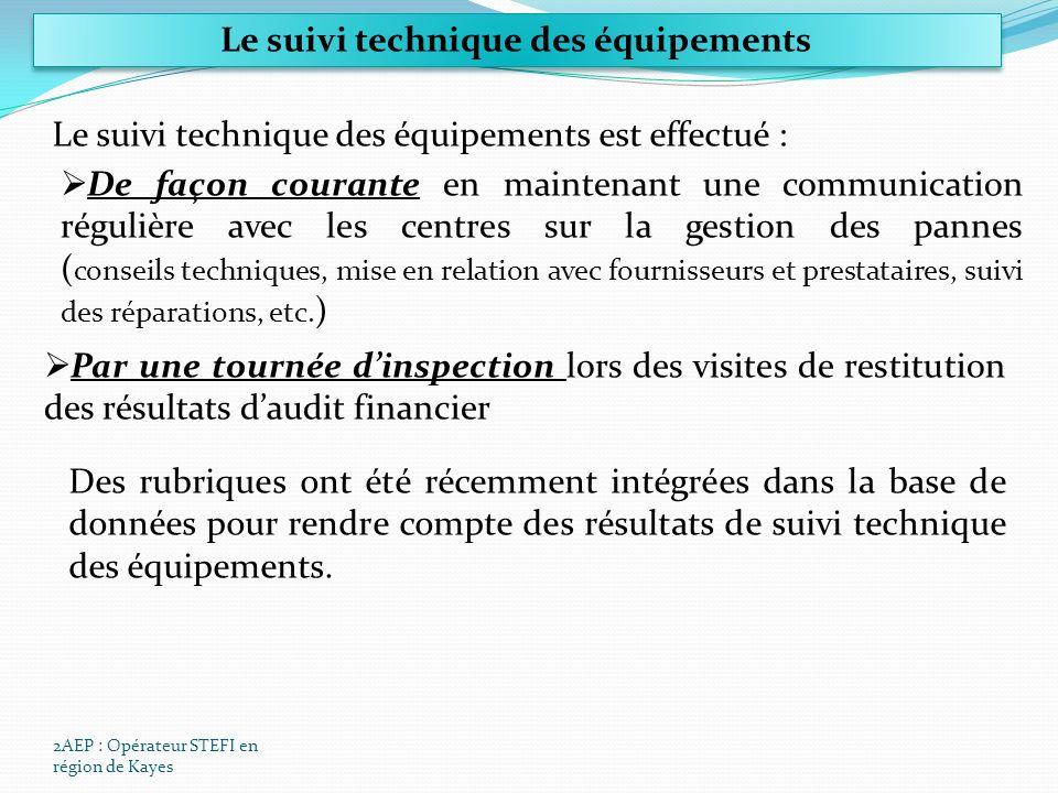 2AEP : Opérateur STEFI en région de Kayes Le suivi technique des équipements Le suivi technique des équipements est effectué : De façon courante en maintenant une communication régulière avec les centres sur la gestion des pannes ( conseils techniques, mise en relation avec fournisseurs et prestataires, suivi des réparations, etc.