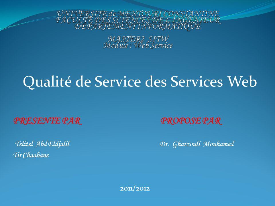 Qualité de Service des Services Web PRESENTE PAR PROPOSE PAR Telitel Abd Eldjalil Dr. Gharzouli Mouhamed Tir Chaabane 2011/2012