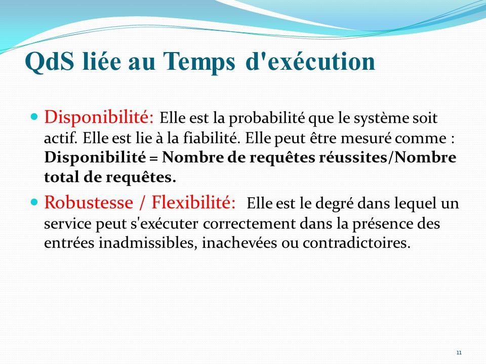 QdS liée au Temps d'exécution Disponibilité: Elle est la probabilité que le système soit actif. Elle est lie à la fiabilité. Elle peut être mesuré com