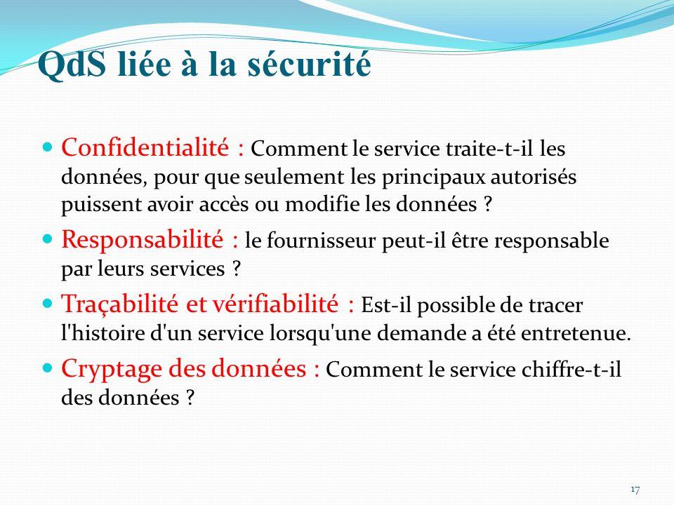 QdS liée à la sécurité 17 Confidentialité : Comment le service traite-t-il les données, pour que seulement les principaux autorisés puissent avoir acc