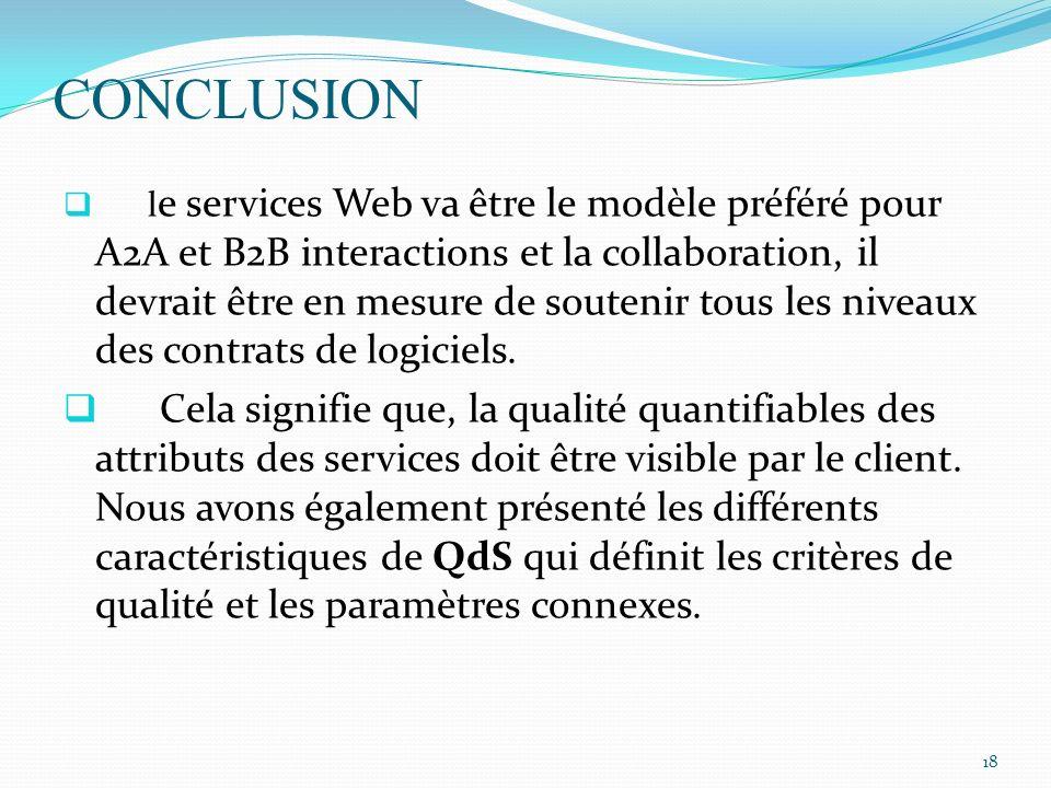 CONCLUSION l e services Web va être le modèle préféré pour A2A et B2B interactions et la collaboration, il devrait être en mesure de soutenir tous les